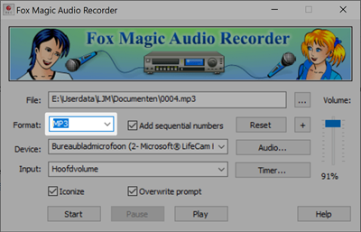 MP3 in Fox Magic Audio Recorder